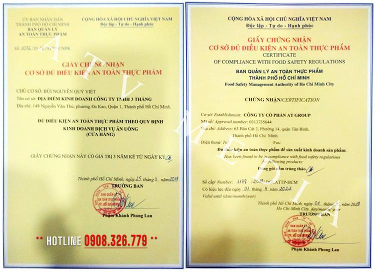 giấy chứng nhận ATTP